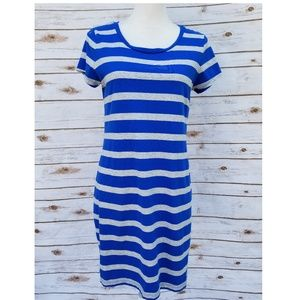 Blue and Grey Striped Dress